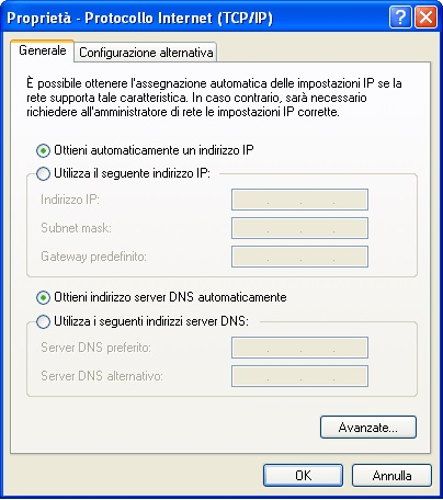 rete dinamica dhcp windows XP